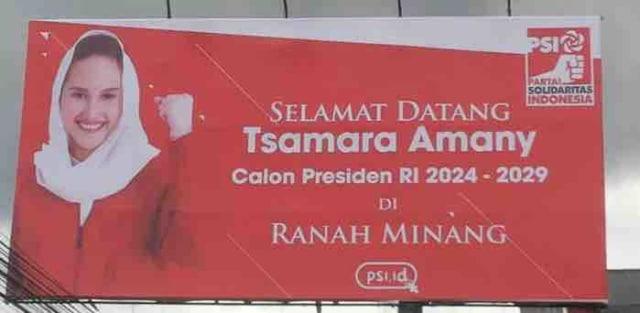 Munculnya Baliho Tsamara Amany sebagai Capres 2024 di Sumatera Barat (5869)