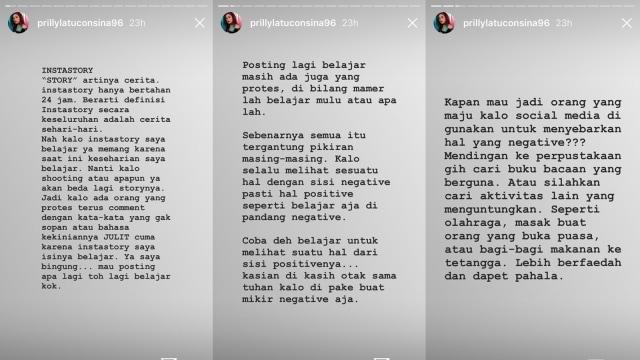 Prilly Latuconsina curhat di Instagram Story