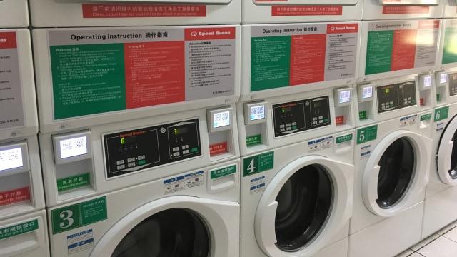 Bayar Jasa Mesin Cuci Umum di China Pakai 'Scan Barcode' (74082)