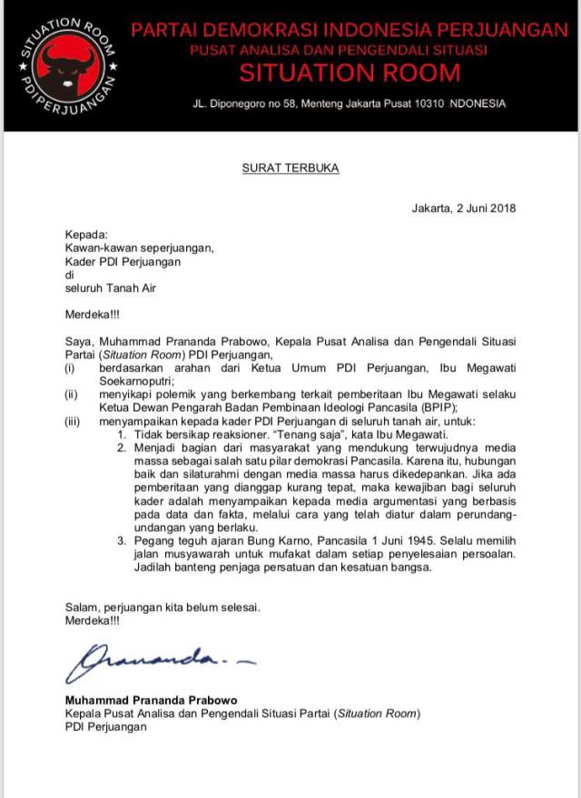 Surat Terbuka Prananda Prabowo Kepada Seluruh Kader PDI Perjuangan (732738)