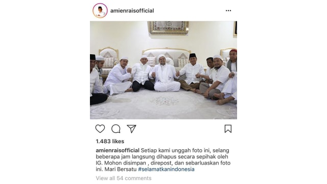 Instagram Hapus 3 Postingan Amien Rais soal Bertemu Rizieq dan Prabowo (41018)