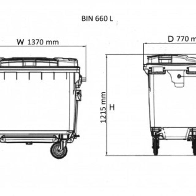 Spesifikasi tong sampah Weber 660 liter