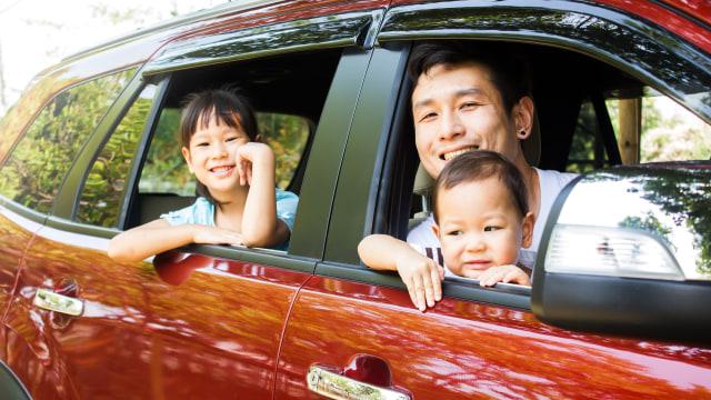 Ilustrasi mudik bersama anak dengan mobil pribadi