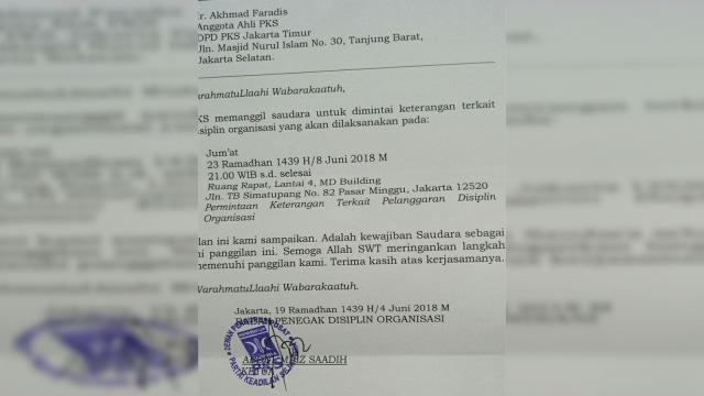 Surat panggilan dari DPP PKS