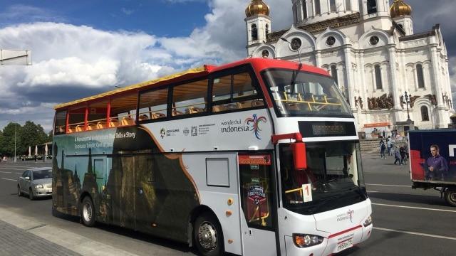 Bus dengan Logo Wonderful Indonesia di Rusia