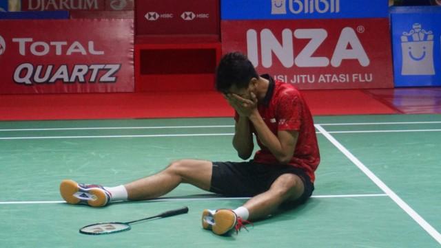 Pebulu tangkis Indonesia Ricky Karandasuwardi pada Turnamen Bulu Tangkis Blibli Indonesian Open 2018