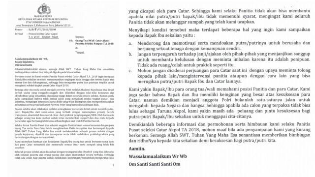 Surat Cinta Dari Jenderal Polisi Untuk Orang Tua Calon