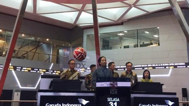 Rini resmikan pencatatan perdana Efek Beragun Aset GIAA01