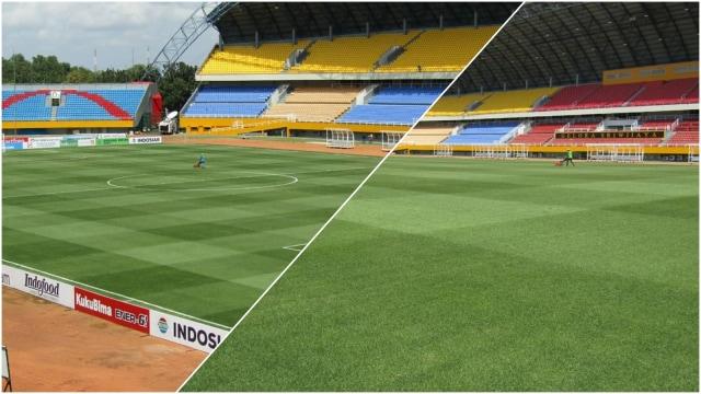 Kolase, Kondisi lapangan Stadion Jakabaring beberapa waktu lalu.