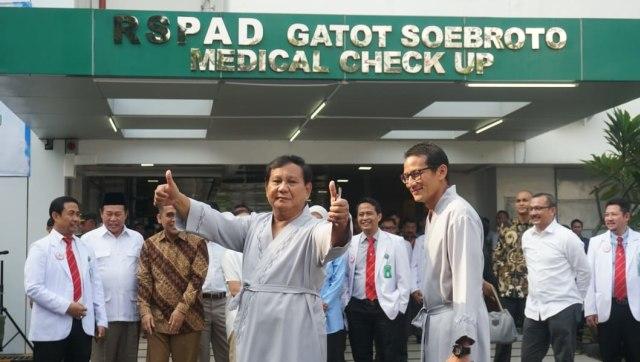 Prabowo Subianto, Sandiaga Uno, RSPAD Gatot Soebroto