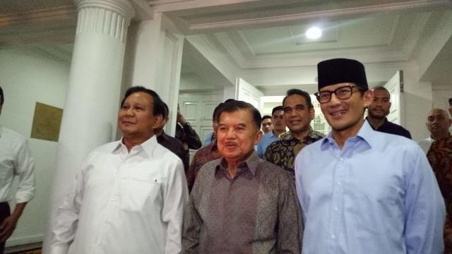 Prabowo-Sandi saat di rumah dinas Jusuf Kalla.