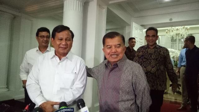 Prabowo di rumah dinas Jusuf Kalla.