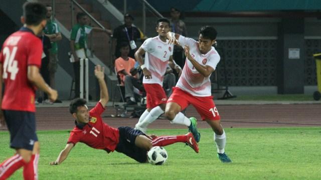 Tim Indonesia, Laos, Asian Games di Stadion Patriot, Bekasi