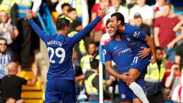 Morata, Alonso, dan Pedro Rayakan Gol Chelsea.