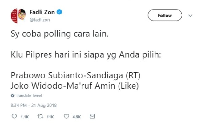 Fadli Zon Buat Polling Pilpres di Twitter: Jokowi Menang Lalu Dihapus (532809)