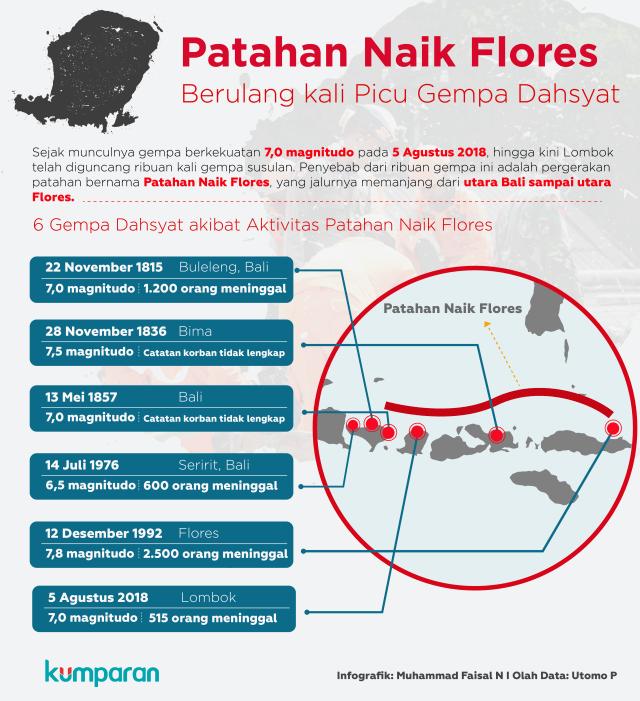 Patahan Naik Flores Pemicu Gempa Lombok