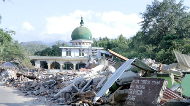 FOTO KHUSUS LIPSUS, Gempa Lombok, Kerusakan akibat gempa di Lombok