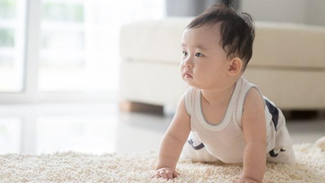 Ilustrasi bayi merangkak.