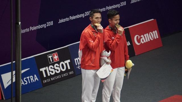 Jonatan Christie dan Anthony Sinisuka Ginting mendapat emas, bulu tangkis Asian Games 2018