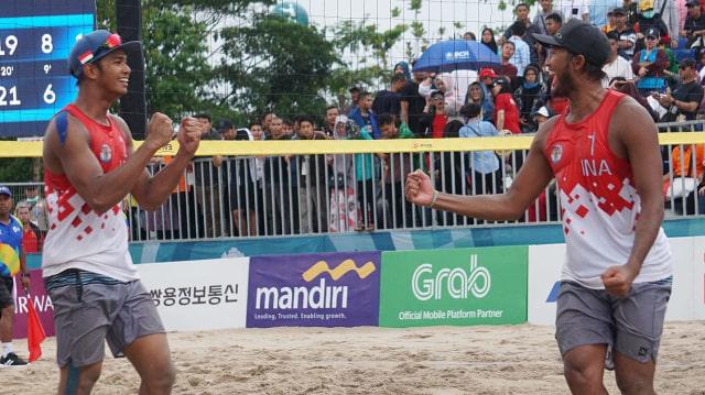 Atlet voli pantai putra Indonesia, Gilang Ramadhan, Danangsyah, medali perunggu, final ganda putra, Palembang