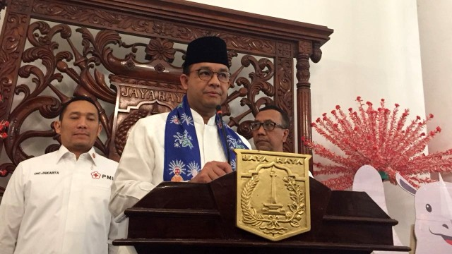 Gubenur Anies Baswedan di Balai Kota Jakarta