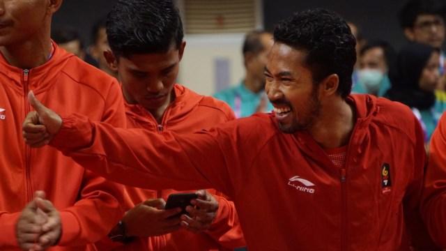 Atlet sepak takraw putra Indonesia, sepak takraw, medali emas, final, Palembang, Asian Games