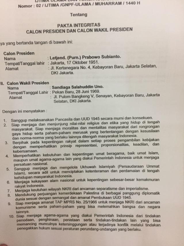 Pakta  Integritas Prabowo-Sandi dengan Ijtima Ulama