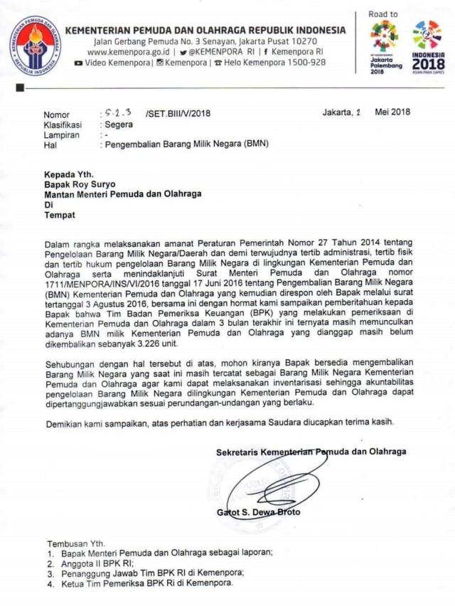 Surat permohonan pengembalian barang Kemenpora