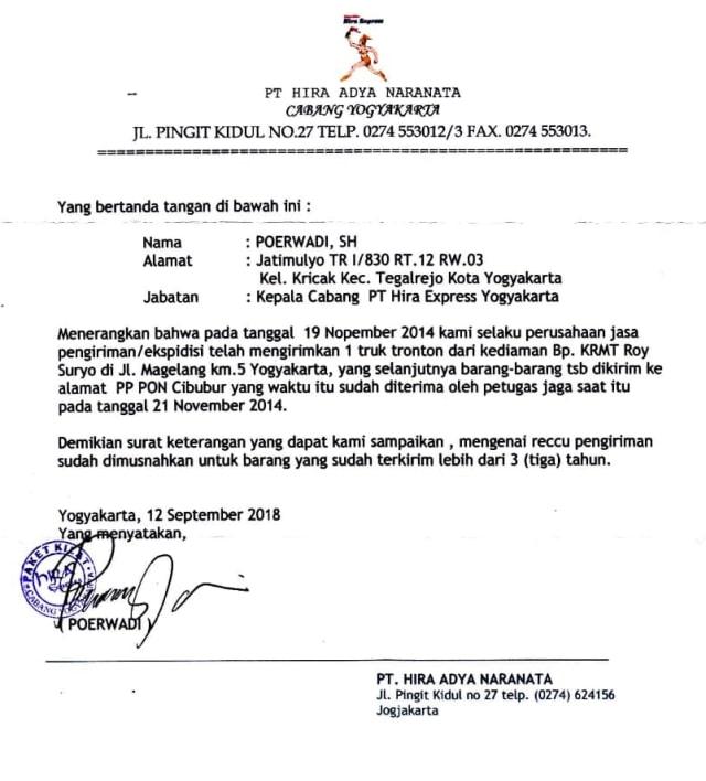 LIPSUS ROY SURYO, Surat Pengiriman Barang dari Rumah Roy