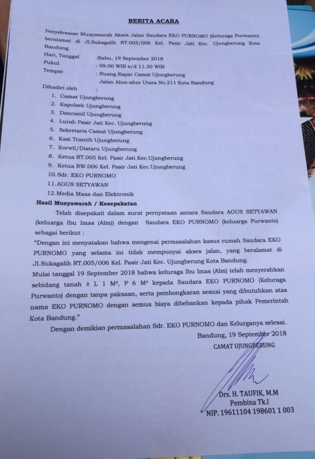 Surat hasil musyawarah untuk akses jalan Pak Eko