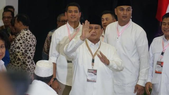 Proses pengambilan nomor urut di KPU, Prabowo