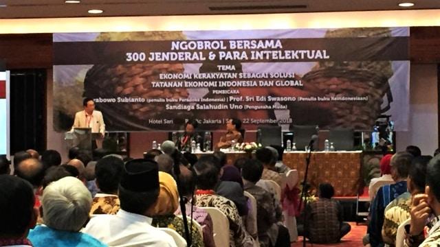 Prabowo Subianto dalam acara Ngobrol Bersama 300 Jenderal dan Para Intelektual.