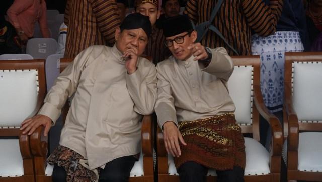 Prabowo dan Sandiaga Uno tiba di Monas