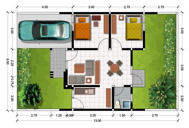 43 Gambar Rumah Sederhana Beserta Denah Gratis