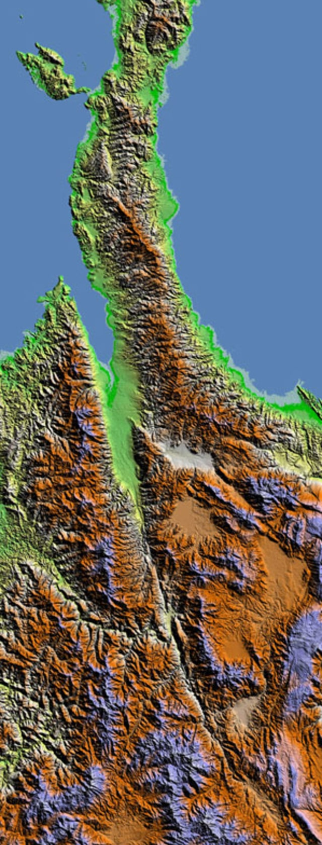 Kenampakan citra Sesar memotong Lembah Palu dan Lembah Koro.