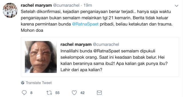 Twitter Rachel Maryam, Ratna Sarumpaet