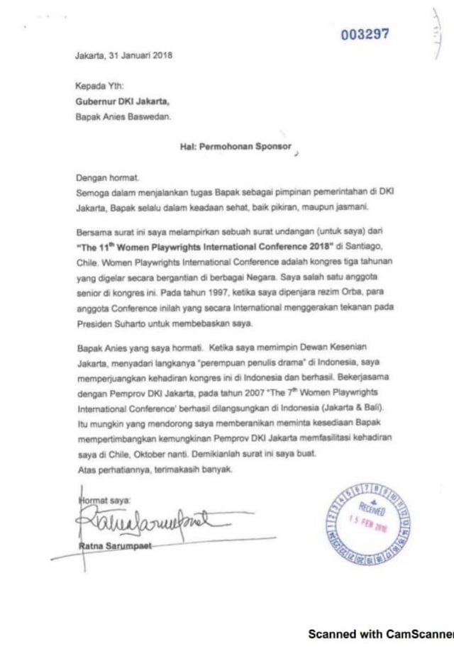 Surat permohonan sponsorship Ratna Sarupaet ke Pemprov DKI