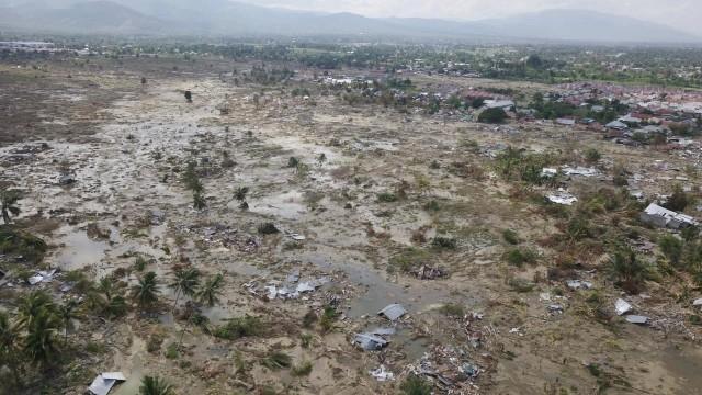 Kondisi jalan Desa Jono Oge, Sigi, Sulawesi Tengah, Gempa dan Tsunami