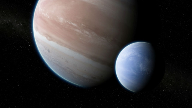 Ilustrasi exoplanet Kepler-1625b dan exomoon yang mengorbitnya
