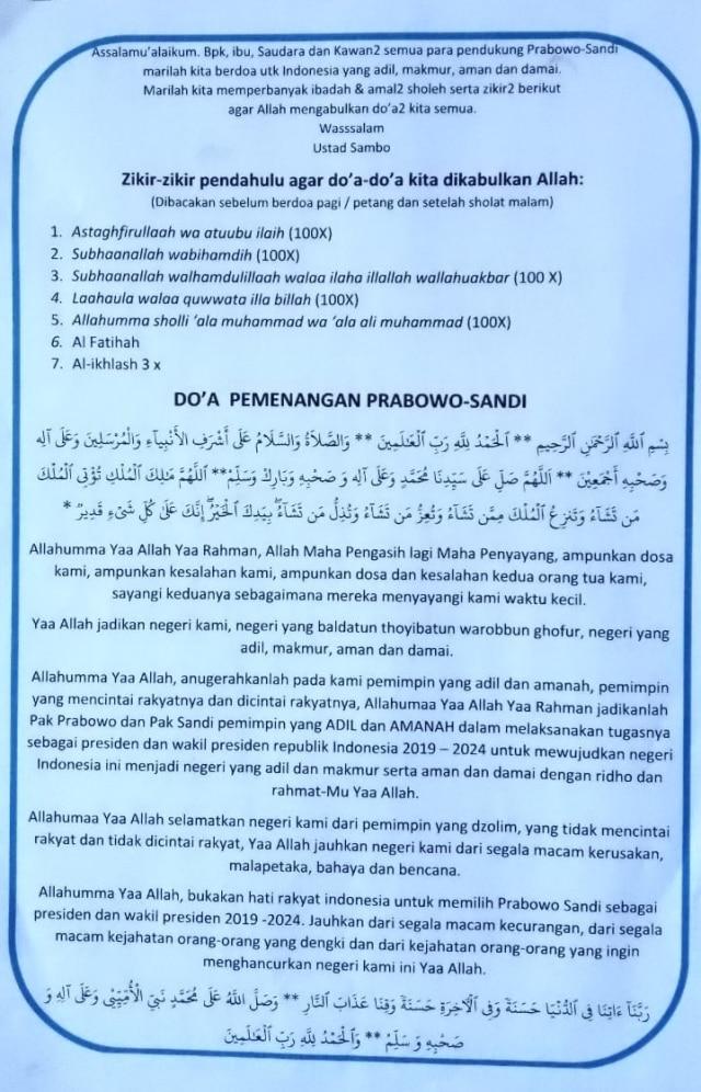Pendukung Prabowo - Sandi Rilis Doa dan Zikir Agar Menang di Pilpres (301833)