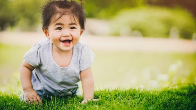 Ilustrasi bayi merangkak di atas rumput