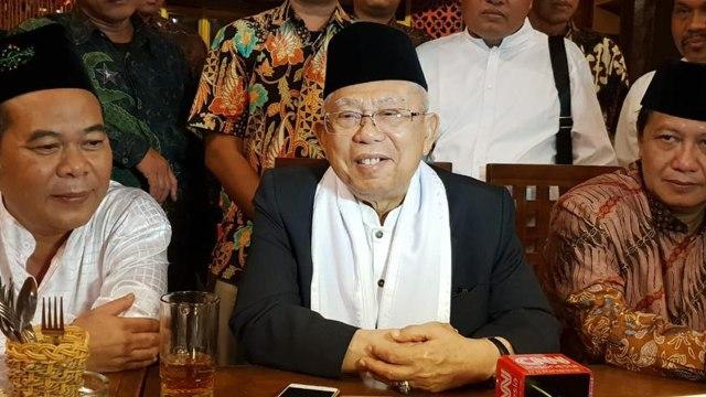 Cawapres Ma'ruf Amin silaturahmi dengan pengasuh Pondok Pesantren Mistahul Huda, Tasikmalaya