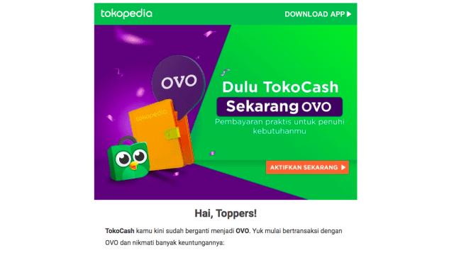 Tokopedia Resmi Ganti Uang Elektronik Tokocash Dengan Ovo