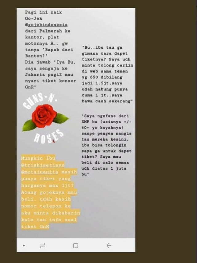 Kisah Haru Driver Ojol dapat Tiket Band Guns N' Roses Gratis (485778)