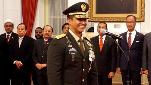 Suasana pelantikan Jenderal TNI Andika Perkasa sebagai KSAD.