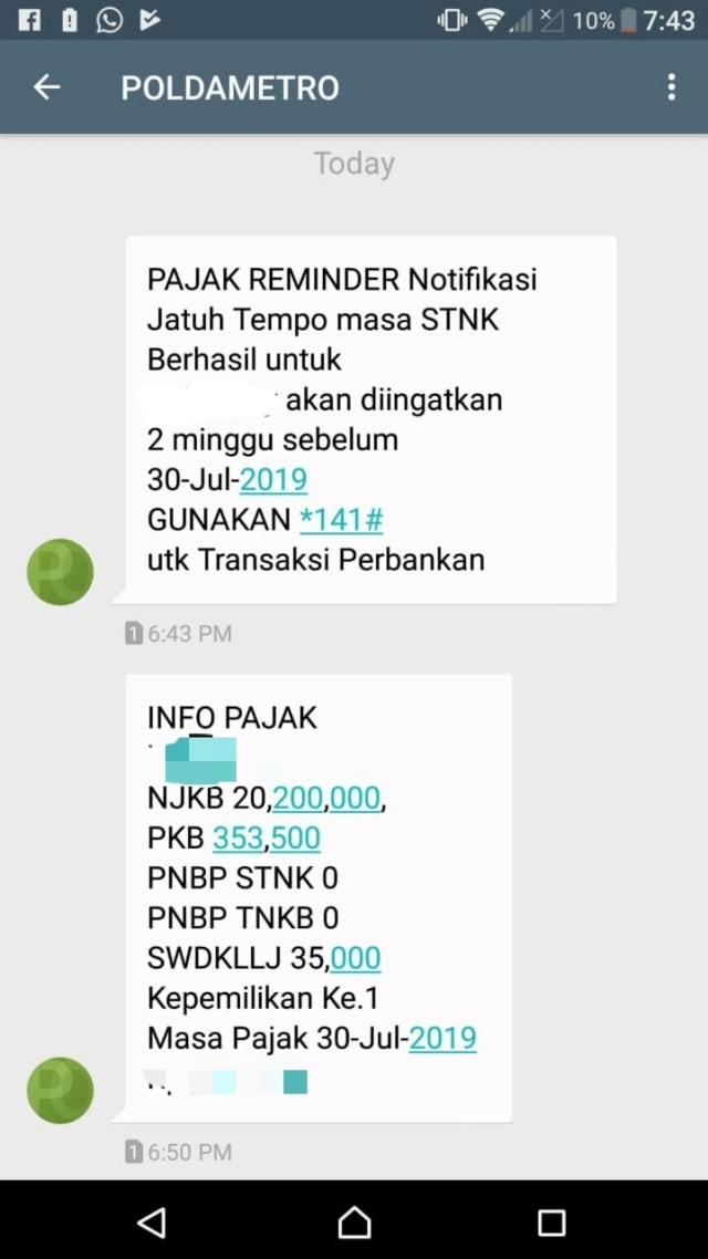 Cara Cek Pajak Kendaraan via SMS  (1072993)