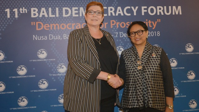 Menteri Luar Negeri Retno Marsudi, Menteri Luar Negeri Australia Marise Payne, Bali Democracy Forum 2018