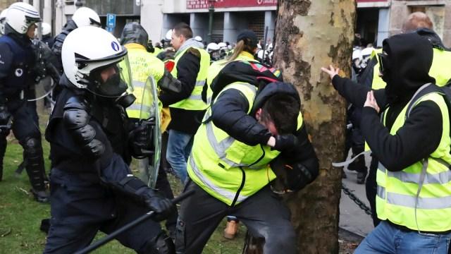 Aksi protes berujung ricuh di Belgia