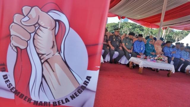 Gubernur DKI Jakarta Anies Baswedan, upacara peringatan Hari Bela Negara ke-70 tahun 2018 di Lapangan Silang Monas Selatan