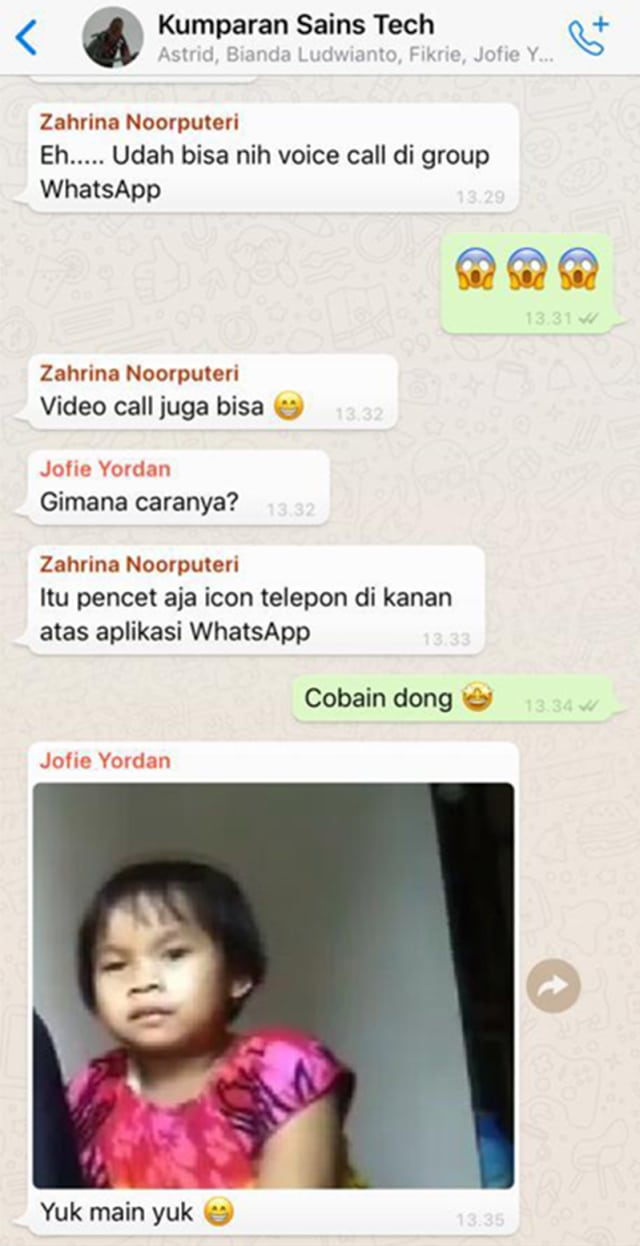 Fitur Voice dan Video Call di WhatsApp Group